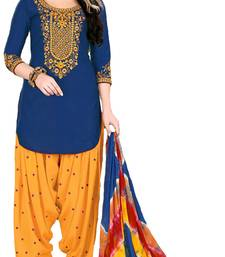 Buy Blue embroidered cotton salwar with dupatta patiala-salwar online