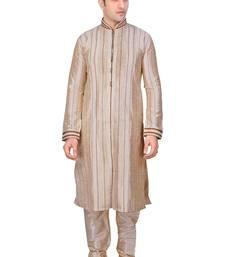 Buy Men's fawn front open kurta with cording and pleating all over with gundi buttons pakistani sherwani style pakistani-sherwani online