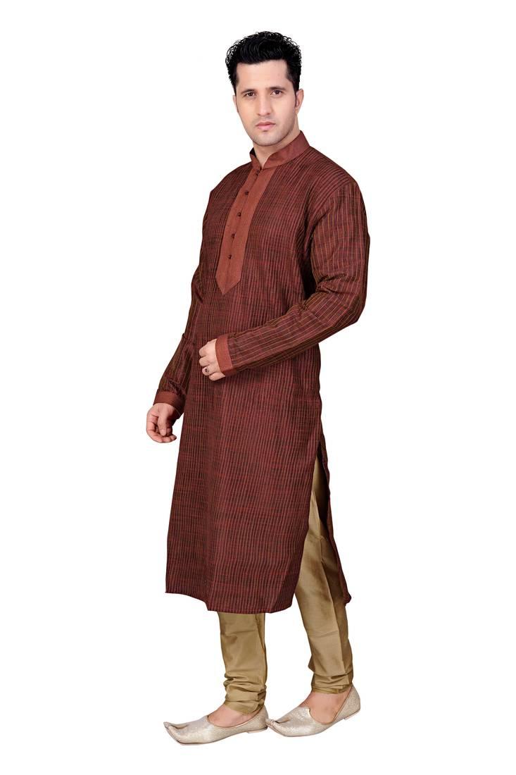 Buy Maroon Kurta With Nehru Collar With Pintucked And