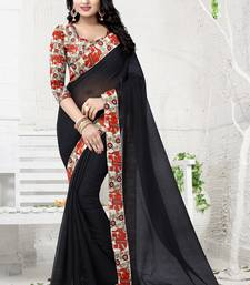 Buy Black plain chanderi saree with blouse light-weight-saree online