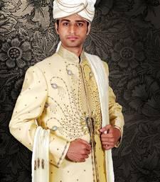 Buy modern cream  embroidered sherwani men-festive-wear online