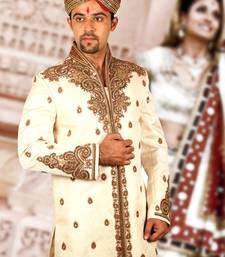 Buy cream brocade embroidered sherwani men-festive-wear online