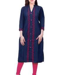 Buy Blue embroidered Denim  kurti kurtas-and-kurtis online