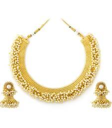 Buy ANTIQUE GOLDEN STONE STUDDED TRADITIONAL TEMPLE THEME NECKLACE SET necklace-set online
