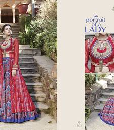 Buy Red embroidered silk semi stitched salwar with dupatta silk-salwar-kameez online