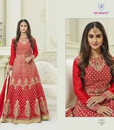 Buy Red zari silk semi stitched salwar with dupatta silk-salwar-kameez online