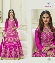 Buy Pink zari silk semi stitched salwar with dupatta silk-salwar-kameez online