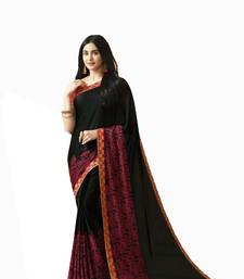 Buy Black printed satin saree with blouse satin-saree online