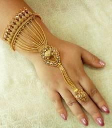 Buy Designer Copper Zircon Golden / LCT Adjustable Haath Phool Hath Panja Ethnic Wedding Jewelry - LCHP04_LCT haath-phool-hath-panja online