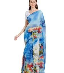 Buy Blue printed georgette saree with blouse georgette-saree online
