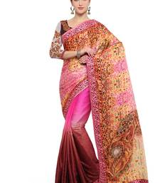 Buy Pink and mustard embroidered silk georgette saree with blouse silk-saree online