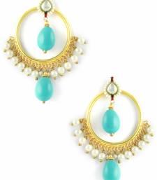 Buy Turquoise Blue Jadau Kundan Dangle and Drop Earrings Jewellery for Women - Orniza danglers-drop online