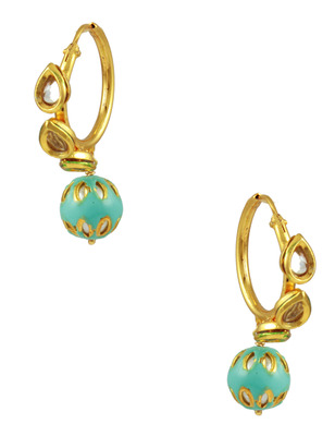 Turquoise Blue Vilandi Kundan Hoop Earrings Jewellery for Women - Orniza