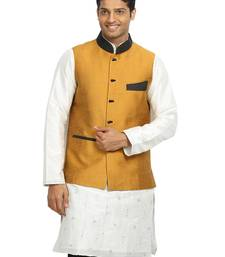 Buy Gold plain designer silk Nehru jacket gifts-for-dad online
