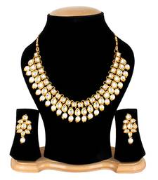 Buy Kundan Gold Plated Pearl Necklace Set with Earrings for Women necklace-set online