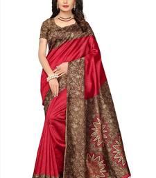 Buy Red printed tussar silk saree with blouse tussar-silk-saree online
