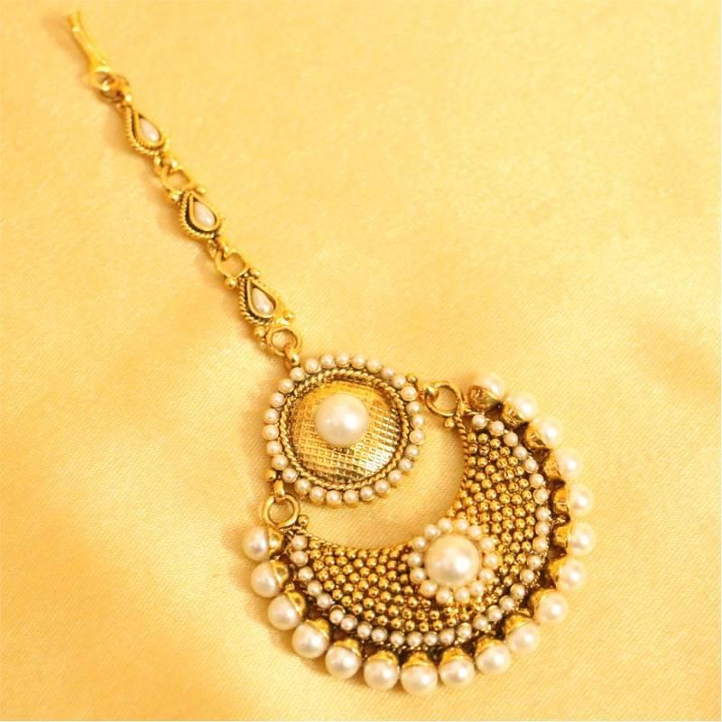 Buy Beautiful Pearl Polki Maang Tikka Online