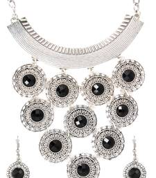Buy Traditional Oxidised Sun Design Crystal German Silver Black Brass Tribal Necklace Earring Set Girl Women necklace-set online
