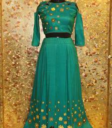 Buy Firrozi color mirror work silk fabric Full Stitched crop-top with blouse readymade-lehenga-cholis online