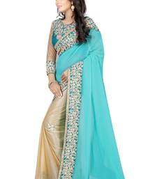 Buy Blue pure georgette embroidered saree with blouse designer-embroidered-saree online
