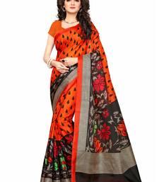 Buy Orange khadi printed saree with blouse traditional-saree online