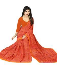 Buy Orange crepe printed saree with blouse crepe-saree online