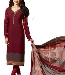 Buy Maroon embroidered crepe salwar crepe-salwar-suit online