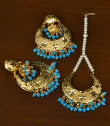 Buy Gold Plated Beaded Self-Pattern Designer Dangler Earrings cum Tikka danglers-drop online