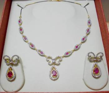 Ruby Red AD-CZ Necklace 015