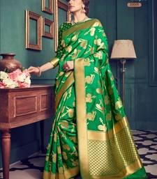 Buy Dark green woven pure jacquard saree with blouse jacqueline-fernandez-saree online