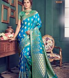 Buy Blue woven pure jacquard saree with blouse jacqueline-fernandez-saree online