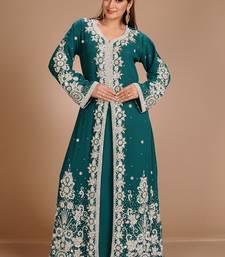 Buy Green Zari Work Stones & Beads Embellish GEORGETTE  Islamic Style Arabian Maxi Partywear Kaftan islamic-kaftan online