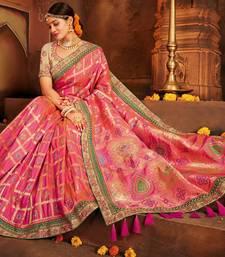 Buy Pink woven pure banarasi saree with blouse bridal-saree online