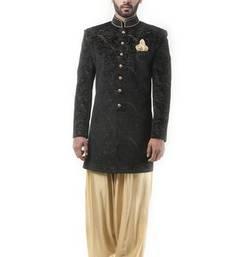 Buy Black velvet zari work men ethnic achkan online