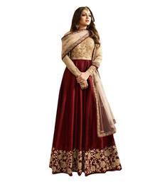 Buy Maroon embroidered silk And Net semi-stitched anarkali dress with dupatta anarkali-salwar-kameez online