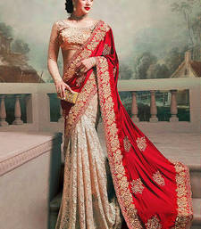 Buy red and chiku silk georgette and rassal net m n designer bollywood saree with blouse karwa-chauth-saree online