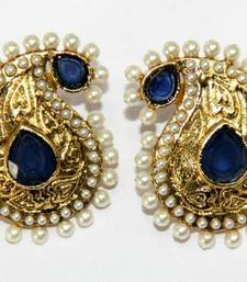 Buy ANTIQUE GOLD PLATED WHITE N BLUE PEARLS TOPS danglers-drop online