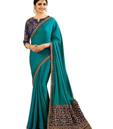Buy Blue embroidered silk blend saree with blouse other-actress-saree online