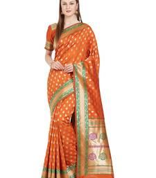 Buy red woven silk saree with blouse kanchipuram-silk-saree online