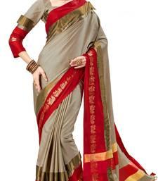 Buy Grey Soft Silk woven saree with blouse silk-saree online