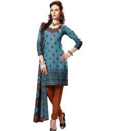 Buy Grey printed cotton salwar dress-material online