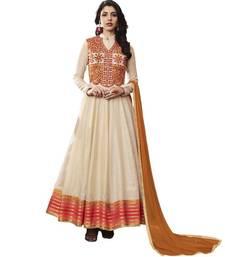 Buy Off-white embroidered jacquard salwar with dupatta party-wear-salwar-kameez online