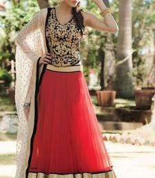 Buy red plain net anarkali lahenga with blouse bridal-lehenga online
