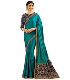 Buy Aqua blue embroidered silk saree with blouse art-silk-saree online