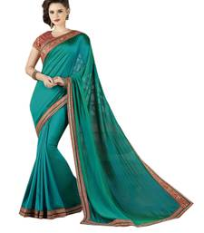 Buy Teal embroidered chiffon saree with blouse fancy-saree online