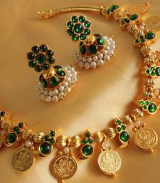 Buy Beautiful handmade green mango coin necklace set-dj15950 necklace-set online