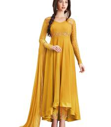 Buy Yellow embroidered faux georgette salwar party-wear-salwar-kameez online