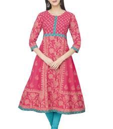 Buy Multicolor Cotton Block Prints Long Anarkali kurti long-kurtis online