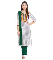 Buy White block print cotton salwar dress-material online