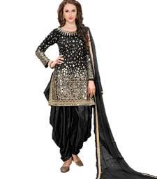 Buy Black embroidered taffeta salwar with dupatta punjabi-suit online